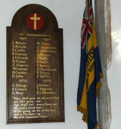 War Memorial in All Saints, Mattishall