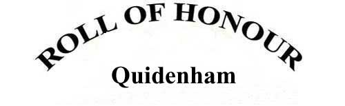 QUIDENHAM ROLL OF HONOUR