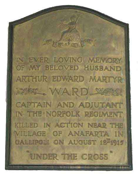 Memorial to Arthur Ward in St Mary Church